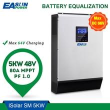 Easun power inversor solar 5000w 80a mppt fora da grade inversor 48v 220v inversor híbrido onda senoidal pura inversor 60a carregador de bateria