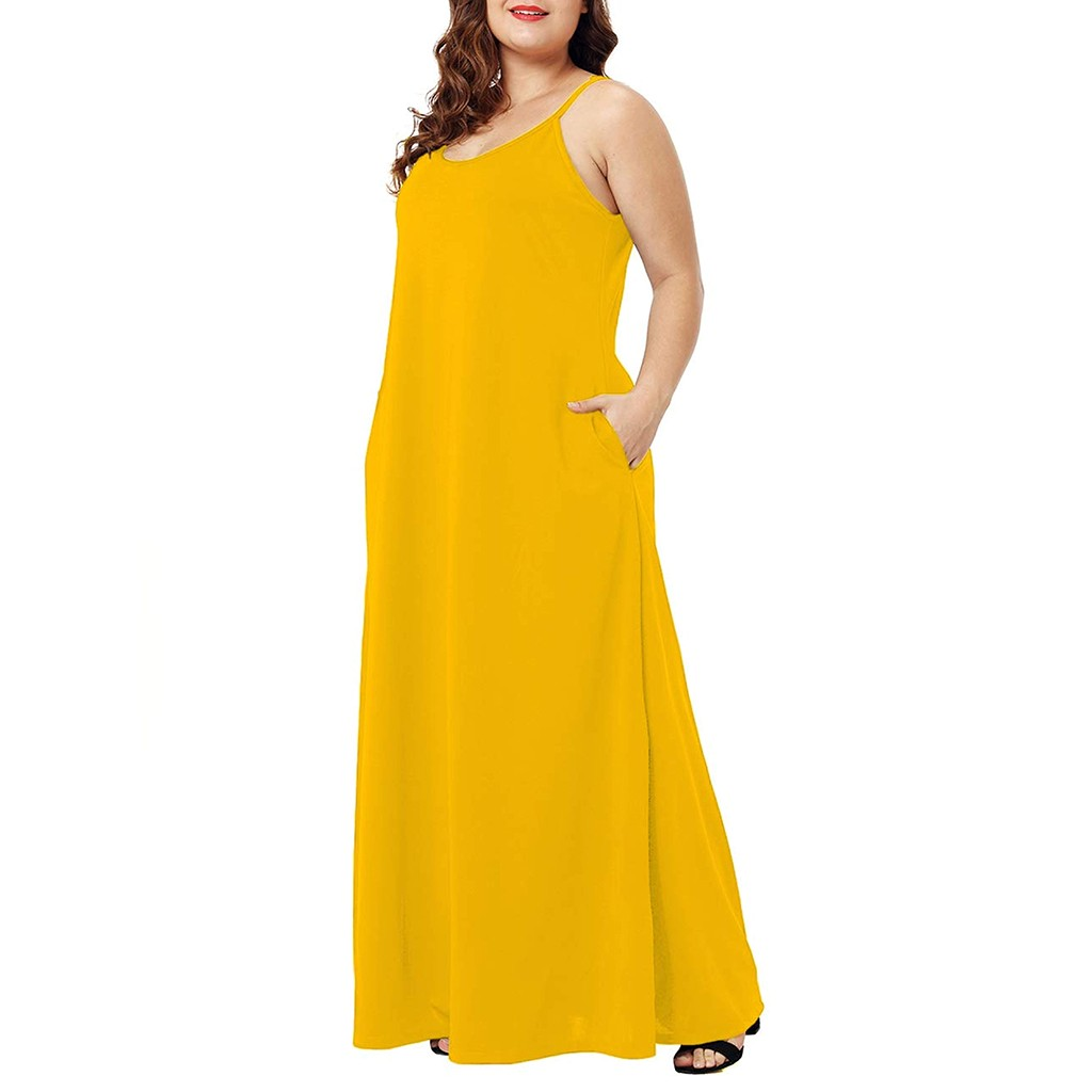 HTB1nqDNXROD3KVjSZFFq6An9pXaW Plus Size Dress Women Summer Solid Maxi Dresses Sexy Spaghetti Straps Sleeveless Loose Long Dress With Pockets Casual Vestidos