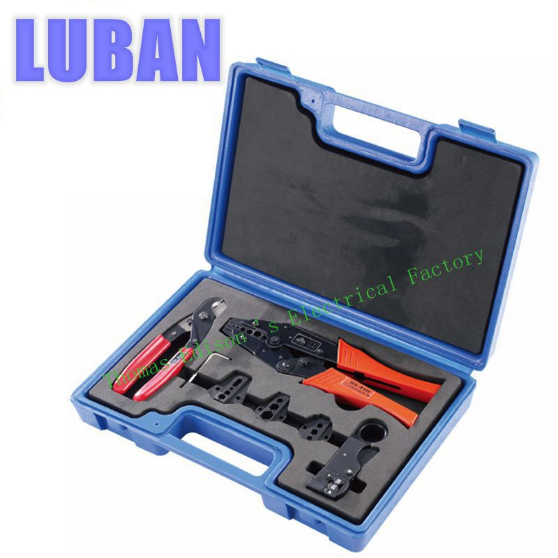 LY05H-5A2 COMBINATION TOOLS IN PLASTIC BOX CRIMPING crimping pliers  wire cutters 4 DIE SETS aqua work aw 36tdn белый