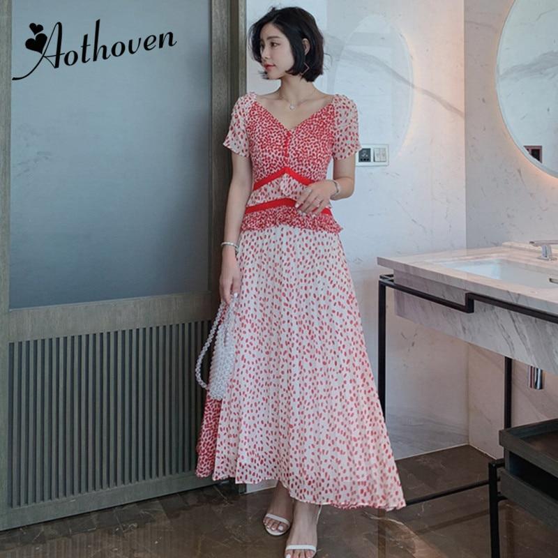 Sexy fête bureau en mousseline de soie robes été 2019 femmes col en V à manches courtes Dot imprimer robes élégantes robes Vintage Bandage robe