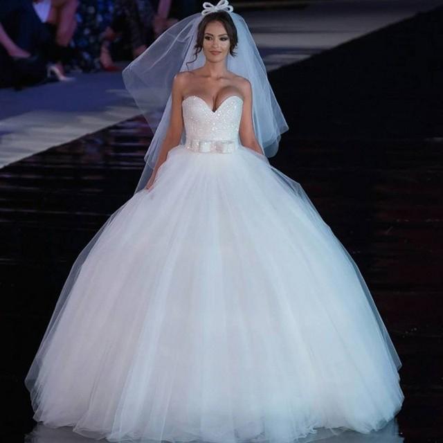 Corset Top Tulle Ball Gown Wedding Dress 2016 NEW Sweetheart Glitter ...