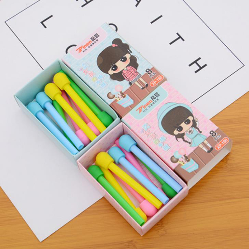 8 Pcs/pack Kawaii Candy Color Matches Shape Rubber Pencil Erasers Cap Office School Supplies Stationery Kids Students Gifts