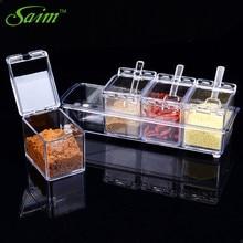 Saim 4pcs/set Seasoning Box Spice Jar Set Condiment Bottle Kitchen Supplies Salt Pepper Shakers Sprays Storage