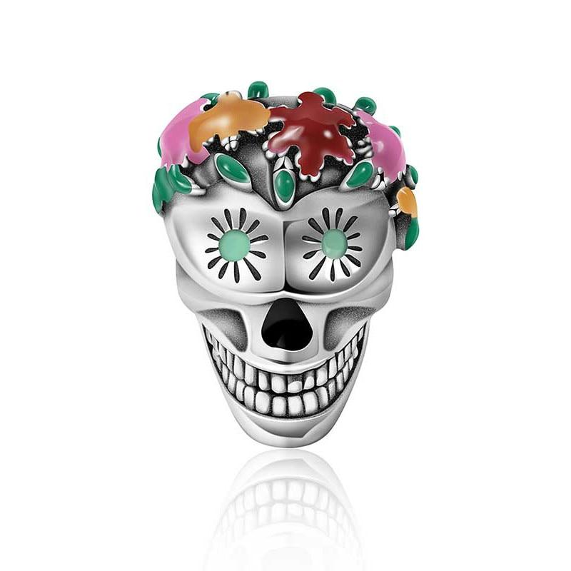 2019 Neue Halloween Sammlung 100% 925 Sterling Silber Blume Schädel Charms Bunte Emaille Perlen Fit Frauen Armbänder Diy Schmuck