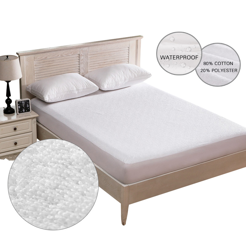 Cotton Terry Waterproof Mattress Cover Bed Soft Cover Mattress Pad Protector Anti Mite White Fitted Sheet