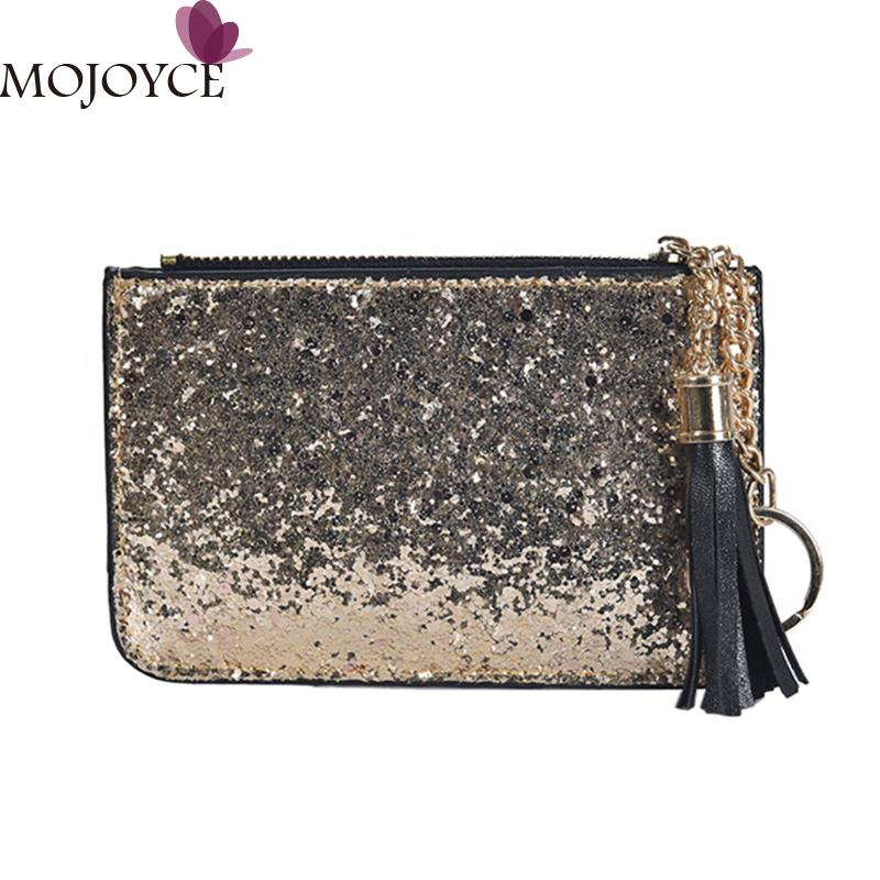 Simple Shining Sequins Coin Purses Women Card Holder Key Money Bags Wallets Small Short Wallet Female Mini Zipper Bags Card Hold