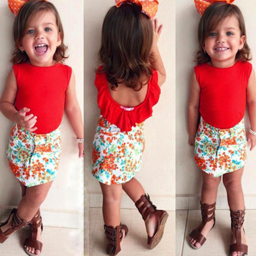 3f6a28c1 toddler girl clothing Solid Sleeveless Tops +Short Floral Skirt Outfits girls  boutique clothing summer style ropa mujer