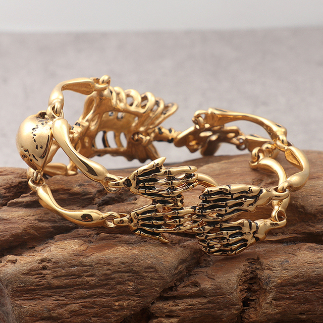 STAINLESS STEEL GOLD SKULL SKELETON BRACELET