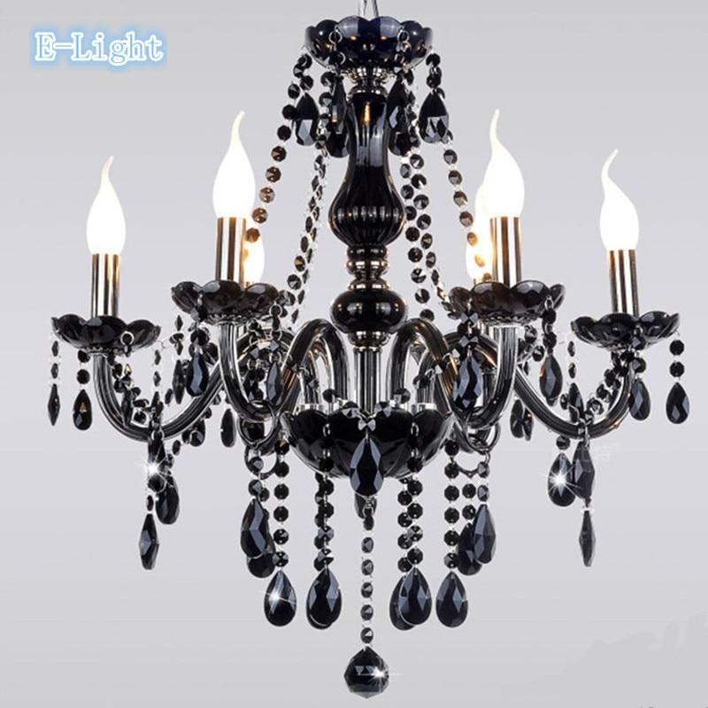 3 6 8 bulb luce european crystal black chandelier light. Black Bedroom Furniture Sets. Home Design Ideas