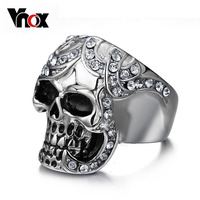 2015 Vintage Europe Silver Color Simulated Diamond Skull Rings Party King Men Ring Rock Punk Horrible