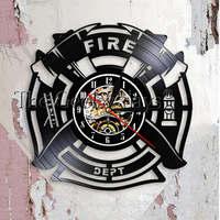 Fire & Rescue Fire Dept Sign Decoration Wall   Clock   Firefighter Vinyl Record Wall   Clock   Man Cave Firemen Decorative   Clock   Watch