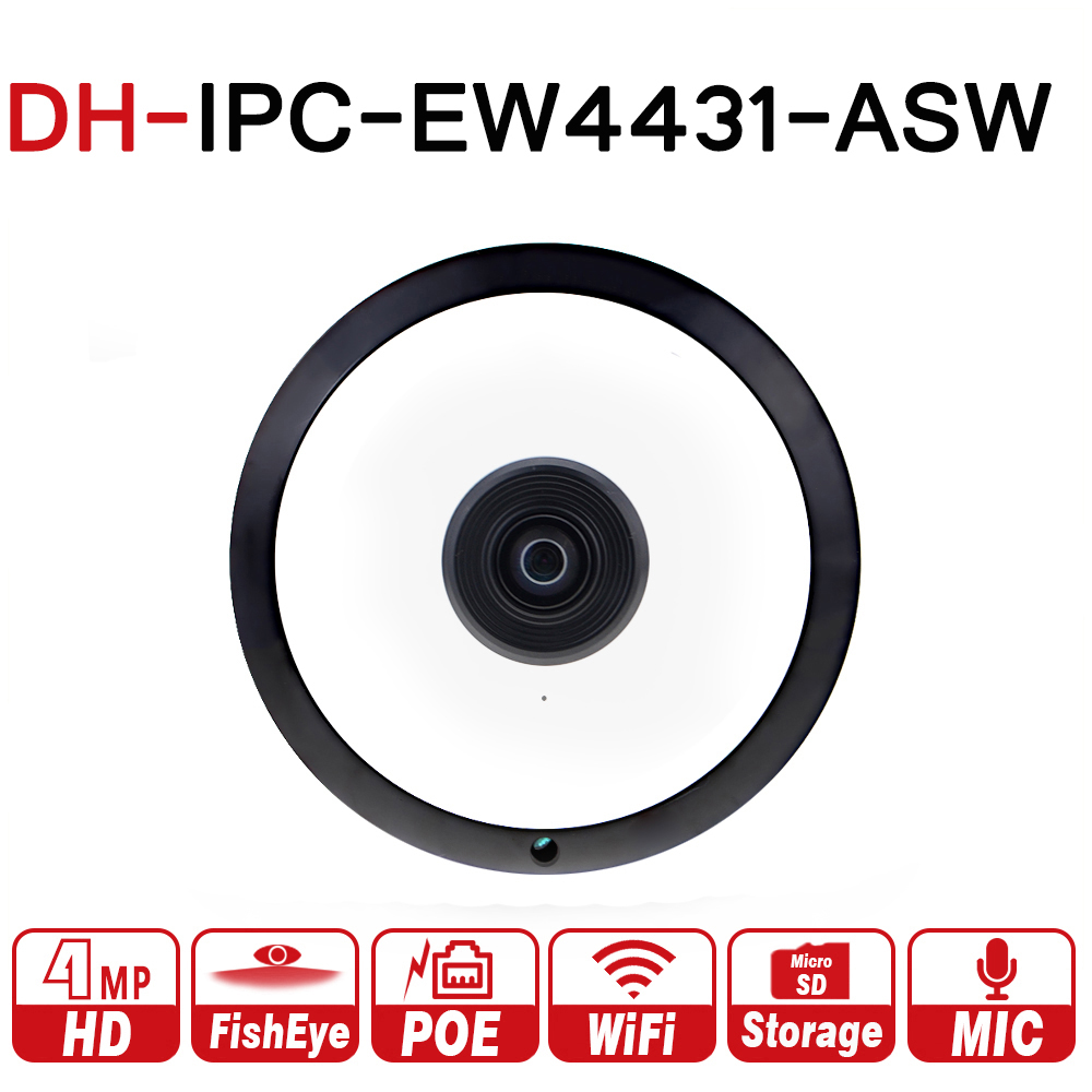 DH IPC-EW4431-ASW 4MP Panorama POE WIFI Fisheye IP Camera built-in MIC SD Card Slot Audio Alarm Interface with DH logo ahua ipc eb5531 5mp wdr panorama 180 degree built in mic with sd card slot poe network fisheye ip camera replace ipc eb5500