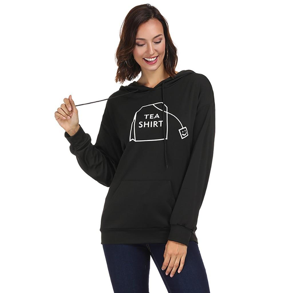Stil; Sonderabschnitt Chamsgend Frauen Mode Tee Tasche Gedruckt Lange-ärmeln Mit Kapuze Pullover Dünne Dünne Beiläufige Warme Sweatshirt Sport Training Hemd Modischer In