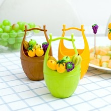 BF040 Cartoon creative lovely wooden barrel fruit fork set stainless steel 7*7*11.5CM free shipping