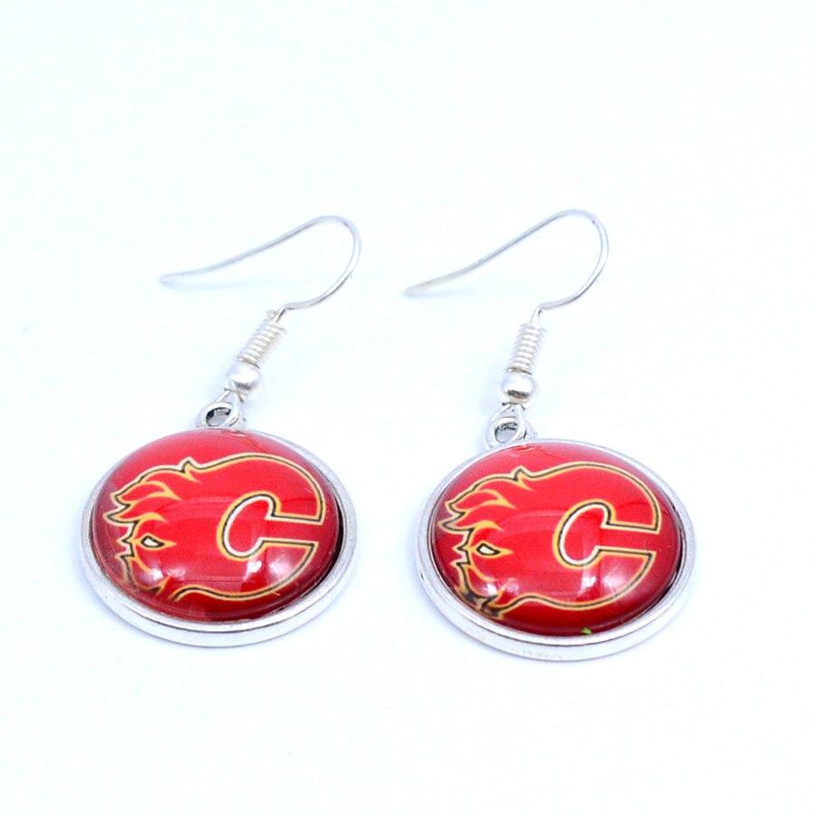 Rhinestone Story Jewelry Earrings NHL Calgary Flames Charms Dangle Earrings Sport Earrings Ice Hockey Jewelry for Women Birthday Party Gift 5 pairs