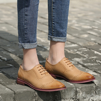 2019 VALLU Women Oxfords Shoes Wingtip Perforated Brogues Round Toes Lace Up Genuine Leather Female Flats Shoes Plus Size 43
