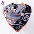 [BYSIFA] señoras Invierno Sarga Bufandas Cuadradas Nueva Cuadrado Grande Bufandas Wraps Mujer Negro Gris Imitado Mantón de la Bufanda de la Tela Cruzada 90*90 cm