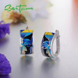Image 5 - Женские серебряные серьги SANTUZZA, вечерние серьги из стерлингового серебра 925 пробы с разноцветной эмалью ручной работы