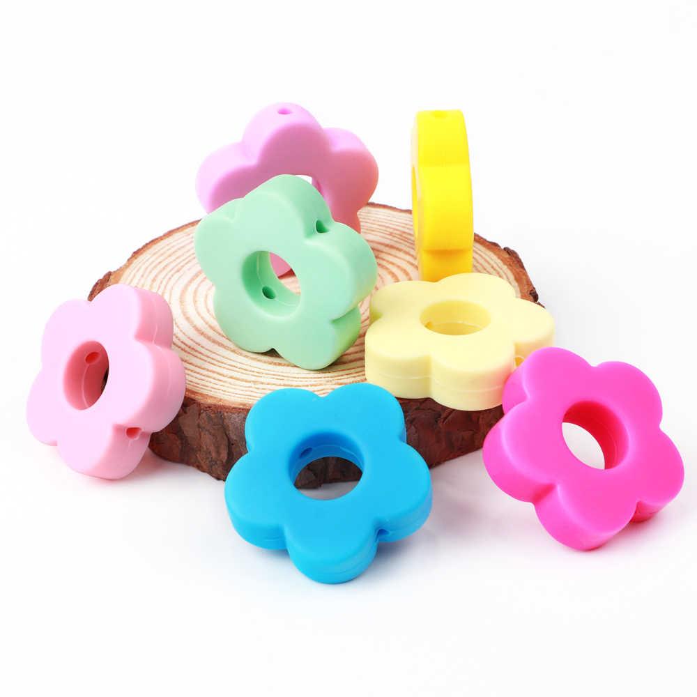 Tyry. hu 1pc grânulos de silicone flor dos desenhos animados grau alimentício bebê mordedor grânulo bpa livre dentição do bebê brinquedos diy fazendo chupeta colar