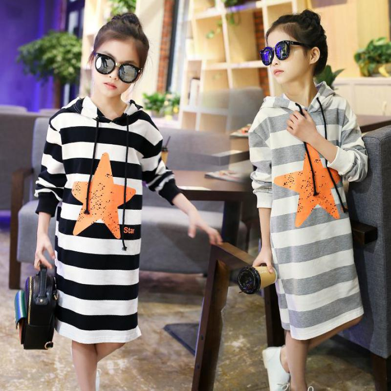 Fashion Teenage Girls Dress Hooded Long Sleeve Kids Clothes Toddler Casual Children Clothing Striped Baby Girls Dresses Costume spring autumn girl dress hooded long sleeve kids clothes toddler next casual children clothing striped tutu baby dresses girls