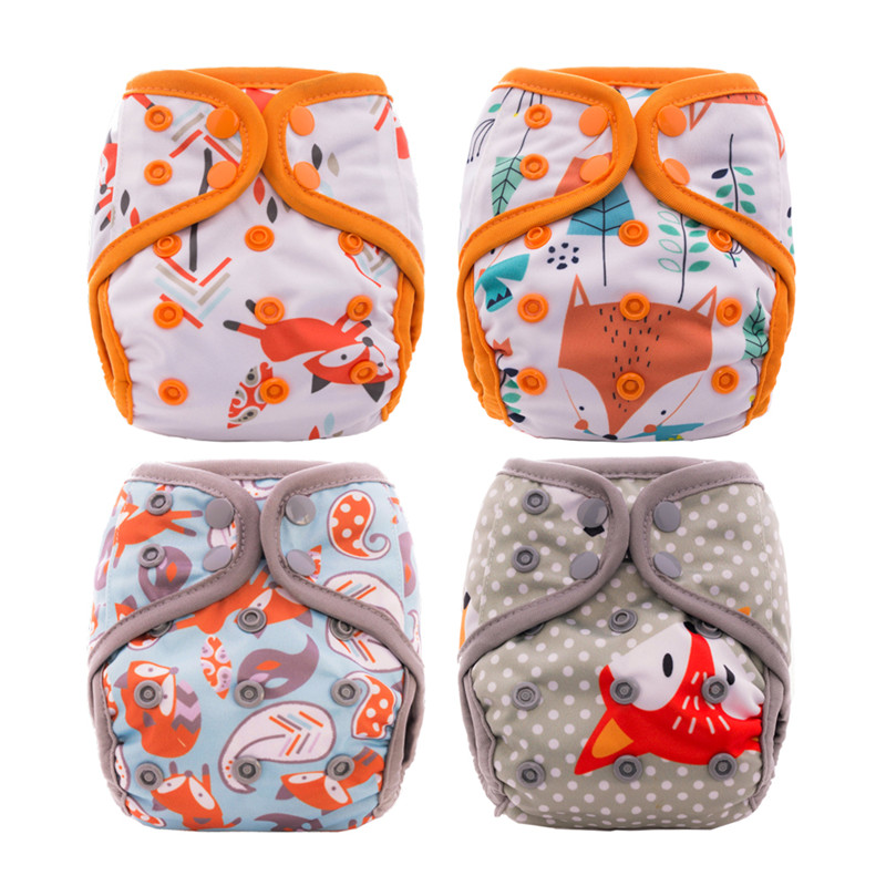 4Pcs Thank U Mom Washable Cloth Diaper Newborn Baby Reusable Nappies PUL Fabric Pocket Diaper NB Bamboo Inner Double Gussets