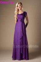 Фиолетовые плиссированные шифоновые скромные платья для подружки невесты с рукавами длинные а силуэта летние простые пляжные свадебные пл