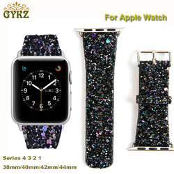 For Apple Watch Series 4/3/2/1 Leather Bling Luxury Iwatch Band Wristwatch Bracelet Strap Shiny Glitter Power 38mm 42mm 40mm44mm