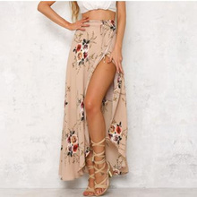 skirt womens Chiffon Asymmetrical Sashes Bifurcation print Floral bohemian skirts petticoat woman summer sexy  long