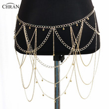 Chran Dangle Multilayer Tassel Women Body Jewelry Hot Sexy Bikini Cross Body Link Leaf Necklace Belly Waist Slave Chain BCJ202