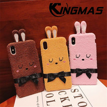 KINGMAS Cute Furry Bunny Ear Phone Case for Apple Warm Fur Plush Rabbit for iPhone 7 6 6s 8 Plus XS XR MAX Soft Shell