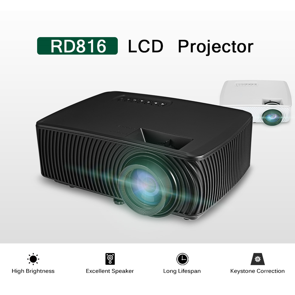 RD816 Portable LCD Projector Home Theater Projectors 1200 Lumens 800x480P Support 1080P Proyector with AV,HDMI,USB,VGA Interface x9 lcd projector 1000 lumens hdmi home theater support 1080p