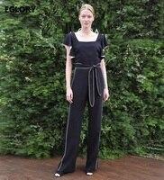 Nouveau Style Salopette De Mode D'été 2017 Femmes Col Carré Blanc Couleur Patchwork Ruches Ceinture Barboteuses Dames Vêtements Body