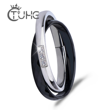 New Cross Ceramic Rings Black White Double Women Ring Jewelry Women Unique Design Fashion Stainless Steel Silver Ring For Gift