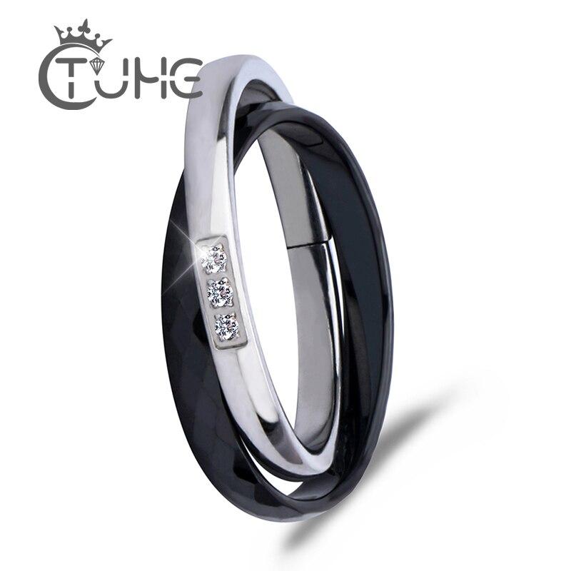 Nouvelle croix en céramique anneaux noir blanc Double femmes anneau bijoux femmes conception Unique mode en acier inoxydable bague en argent pour cadeau