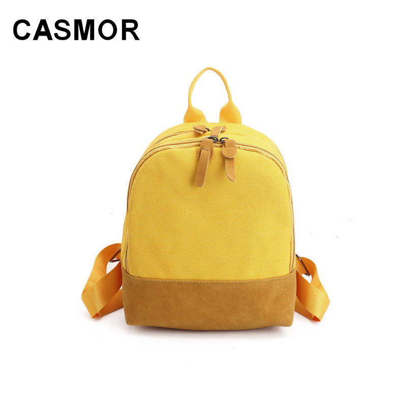 f16484ffe9 CASMOR Mini Canvas Backpacks Cute Girls School Bag For Teenager Women  Middle High School Students Small Backpack Female Fashion-in Backpacks from  Luggage ...