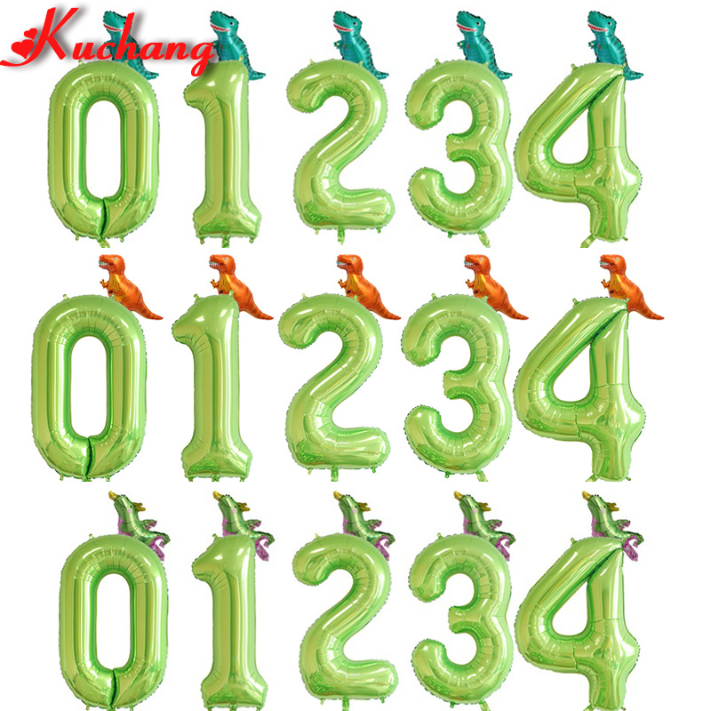 Dino 40inch Number Foil Balloons Dinosaur Party Decor Jungle Party Helium Balloon Birthday Boy Baby Shower Globos Decorations