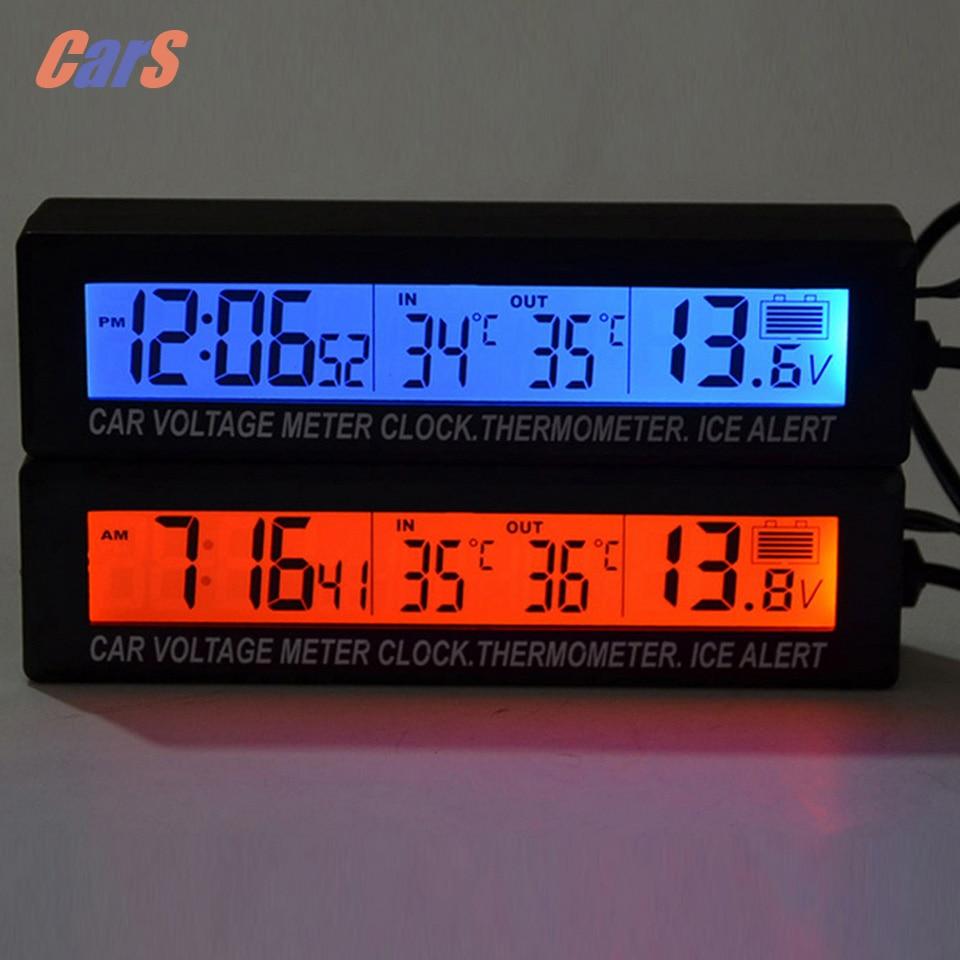 12V/24V Digital Car Voltage Meter 3 in 1 Digital LCD Clock In/Out Car Thermometer Battery Voltage Monitor Meter