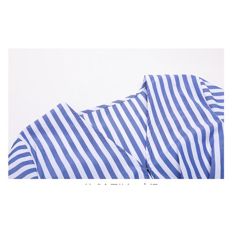 7fca85f64 € 31.83 15% de DESCUENTO|Nueva moda Runway 2018 diseñador blusa mujeres  rayas de Milano Camisa larga en Blusas y camisas de La ropa de las mujeres  ...