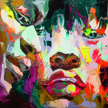 Palette knife portrait Face Oil painting christmas figure canva Hand painted Francoise Nielly wall Art picture for living room23