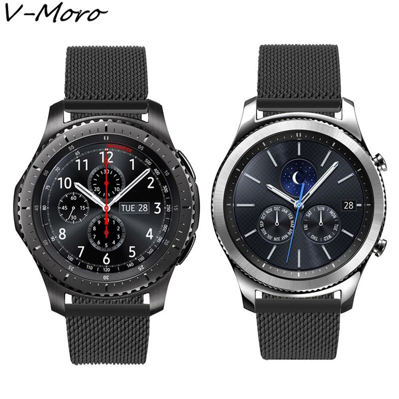 V-MORO Milanese Loop Band For Gear S3 Band Magnetic Closure Clasp Replacement Strap For Gear S3 Classic frontier Smart watch