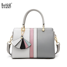 BRIGGS New 2019 Genuine Leather Women Handbags Fashion Patchwork Shoulder Messenger Bag Female Designer Ladies Top-Handle