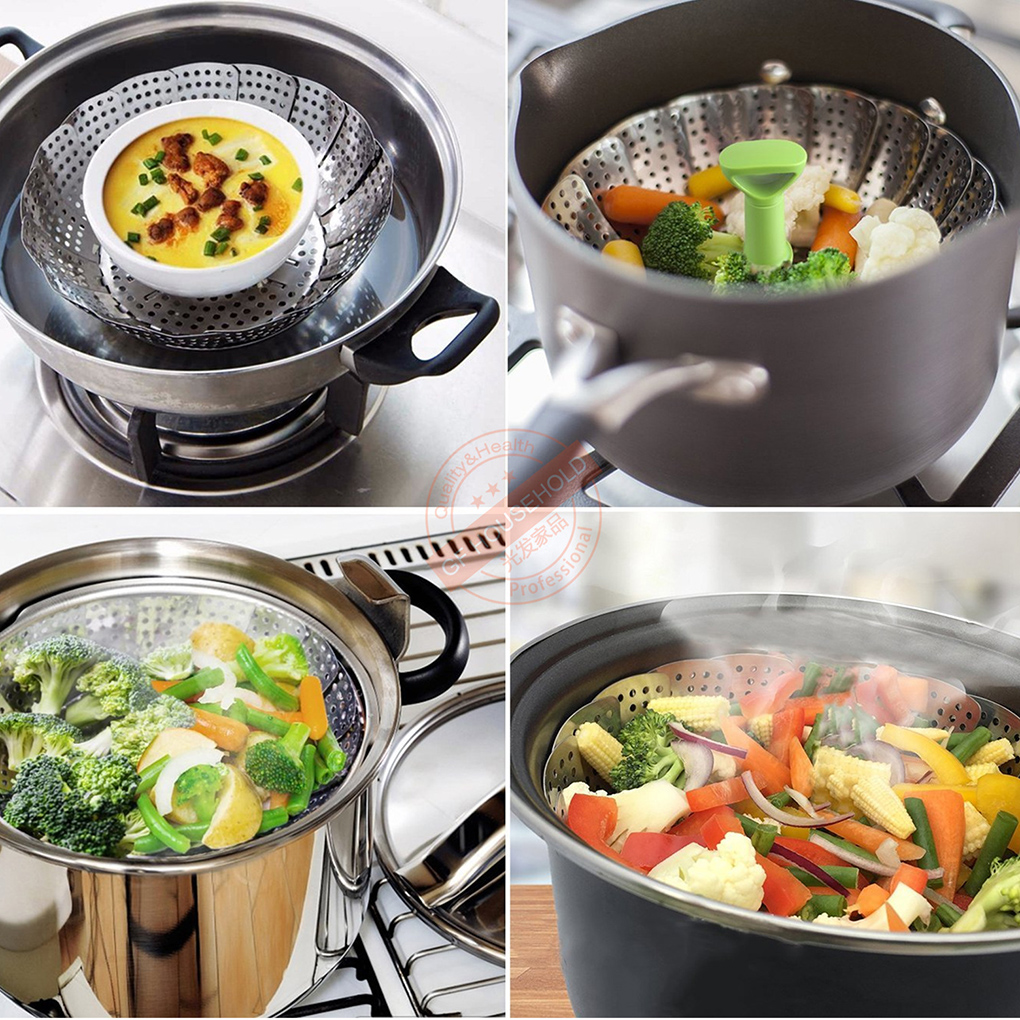 9 Inch Stainless Steel Collapsible Steamer Multifunction Vegetable Fruit Basket Cooking Metal Rack Food Steamer