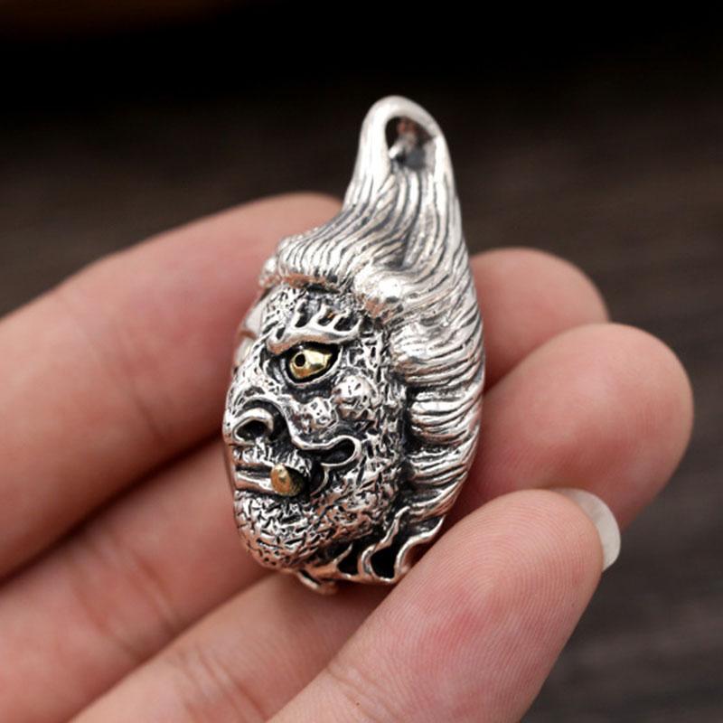 FNJ 925 Silver Pendant Punk Mask devil Buddha Hang 100% Original Pure S925 Thai Silver Men Pendants for Jewelry MakingFNJ 925 Silver Pendant Punk Mask devil Buddha Hang 100% Original Pure S925 Thai Silver Men Pendants for Jewelry Making