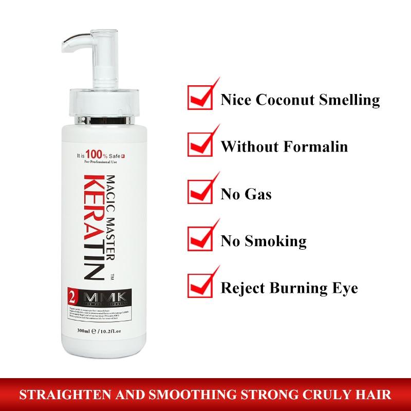Small Capacity 300ml Magic Master Keratin Treatment Without Formalin+300ml Purifying Shampoo Straighten Hair Set Get Free Comb
