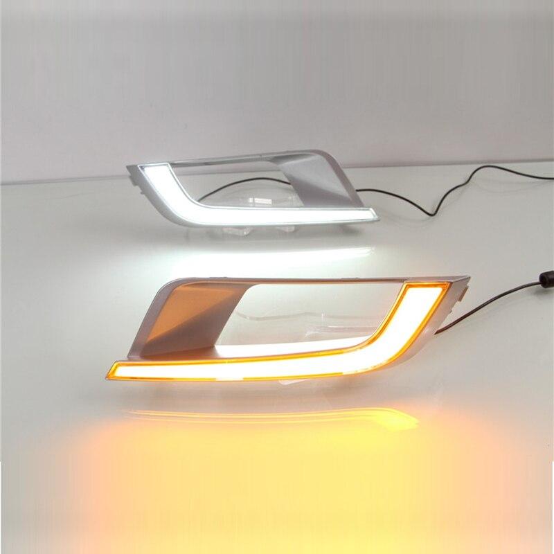 Новый автомобиль дневные ходовые свет комплект для Форд рейнджер 2015-16, белый свет, желтый поворотник, квадратное отверстие , супер яркий