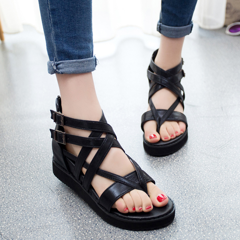 NEW Korean Women Platform Shoes Gladiator Roman Sandals Summer Hollow Out Wedge Cross Tied Buckle Golden Silver Flats Shoes phyanic 2017 gladiator sandals gold silver shoes woman summer platform wedges glitters creepers casual women shoes phy3323