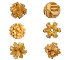 10 pcs lot bag packing educational toys bamboo luban lock puzzle brainteaser locking and unlock IQ