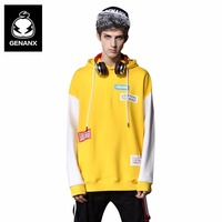 Genanx Brand Hooded Hoodie Man Color Stitching Hoodies Sweatshirts Streetwear Men Loose Long Sleeves Pullovers Size