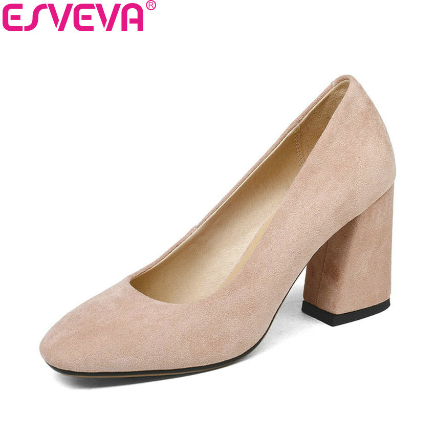 ESVEVA 2018 Women Pumps Shallow Shoes Square High Heels PU Elegant Sweet Style Square Toe Slip on Classic Women Shoes Size 34-43 2017 shoes women med heels tassel slip on women pumps solid round toe high quality loafers preppy style lady casual shoes 17