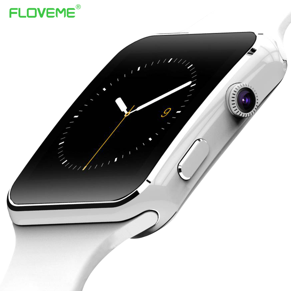 ФОТО FLOVEME Bluetooth Fashion Pedometer E6 Smart Watch On Wrist Dial Call Message Reminder Wrist Watch For Samsung Huawei Android
